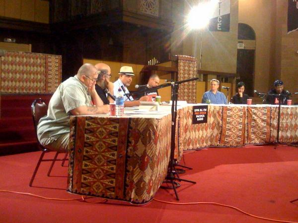 photo from the panel discussion on Incarceration, Resistance, Costs & Consequences (Oakland): from left to right:    Bo Brown (former political prisoner and member of the George Jackson Brigade. Founder and member of Out of Control: Lesbian Committee to Support Lesbian Political Prisoners),  Matt Meyer (member of Resistance in Brooklyn and editor of Let Freedom Ring: A Collection of Documents from the Movements to Free U.S. Political Prisoners)  Ashanti Alston (former political prisoner, soldier for the Black Liberation Army, national co-chair of the Jericho Movement to Free all Political Prisoners)  Ramsey Kanaan (founder and publisher of PM Press and moderator of the evening's event)  Lois Ahrens (editor of The Real Cost of Prisons comics)  and Robert Hillary King (former political prisoner, member of the Angola Three, author of  From the Bottom of the Heap: The Autobiography of Black Panther Robert Hillary King)  Photo taken by Jose Palafox